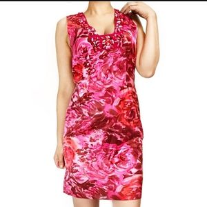 Rebecca Taylor Pink Floral Silk Beaded Dre…
